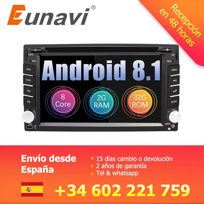 Eunavi Universal 2 Din Android 8.1 Car Dvd Player GPS+wifi+bluetooth+radio+Octa Core+ddr3+Capacitive Touch Screen+car stereo