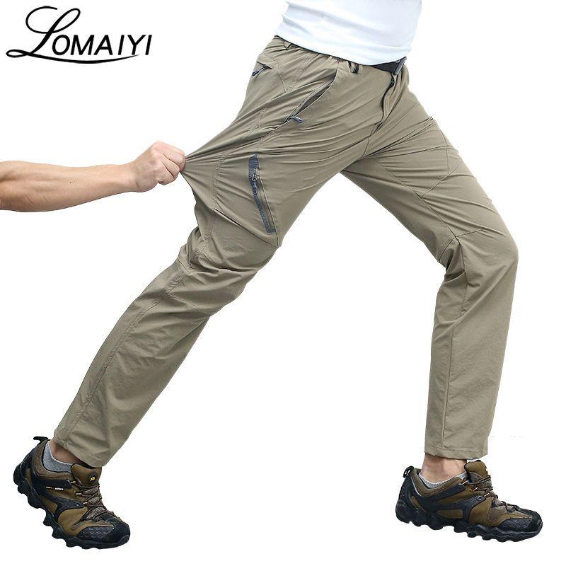 LOMAIYI Elastic Waterproof Multifunction Men Pants 2018 Summer Men's Active Trousers Male Sweatpants Slim Tactical Pants,AM012