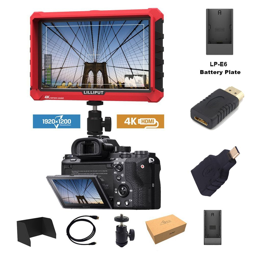 Lilliput A7S 7 Inch Utra Slim IPS Full HD 1920x1200 4K HDMI On-camera Video Field Monitor for Canon Nikon Sony DSLR Camera Video