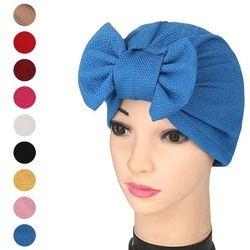 Mode Femmes Solide Musulman Turban Cap Indien Bowknot Élastique Bonnets Chapeau Bonnet Couvre-MX8