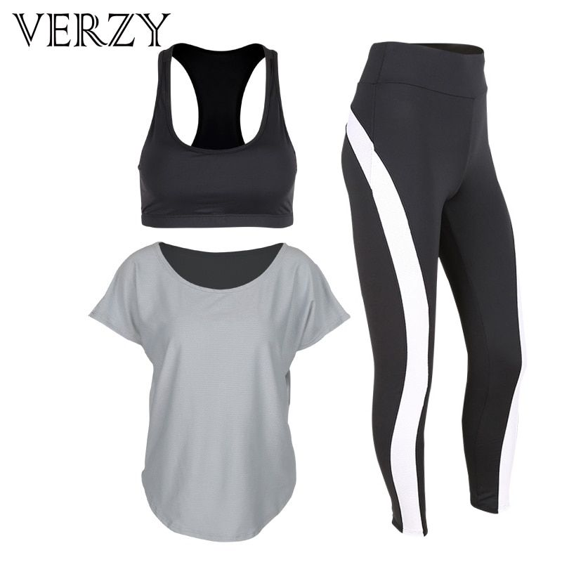 2017 New Black Women Yoga Set Workout Sportswear High Elasticity Gym Running Fitness Breathable Yoga Bra&Sport Leggings Outdoor