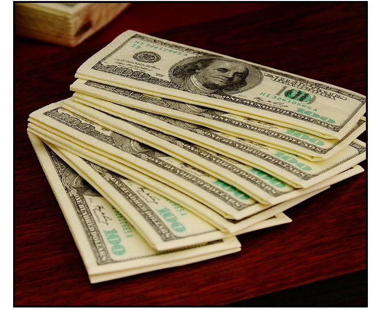 Dollar $ 100 Bill Money Pocket Tissue Paper Napkins Joke Gift 4th July Party Casino