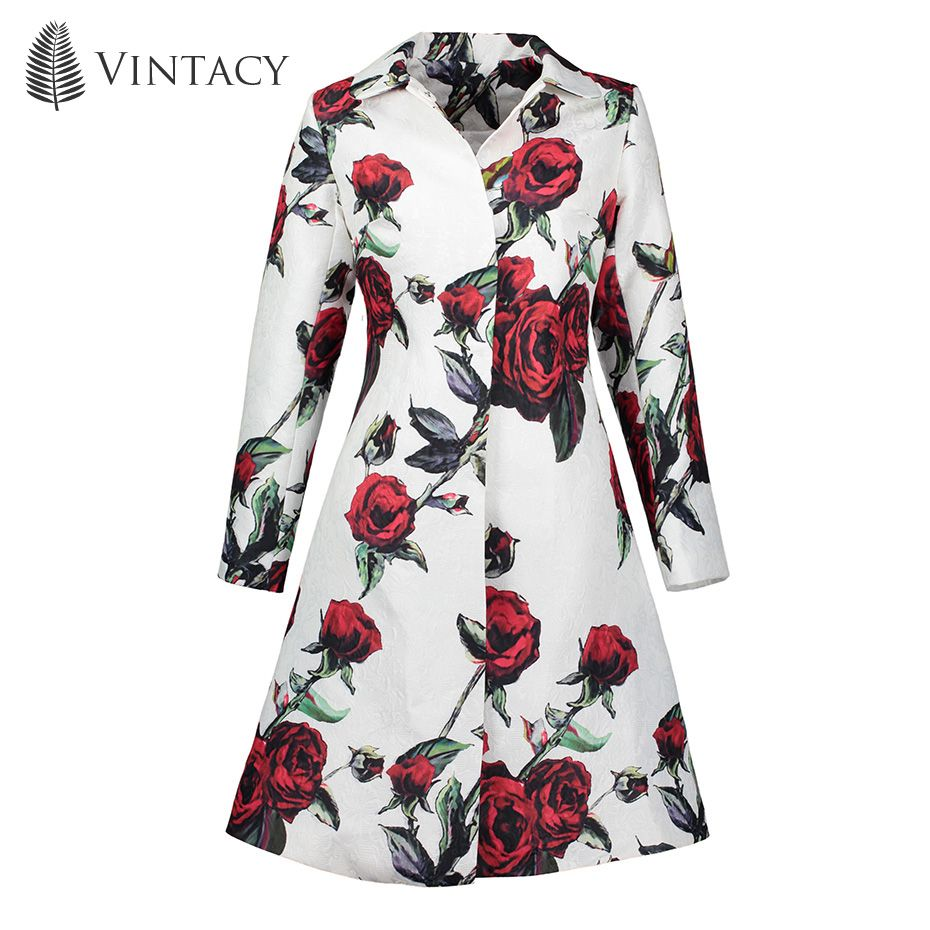Vintacy 2017 Red long Overcoat Maxi A Line fashion women coats Pocket Button overcoat Color Block tops spring autumn Polo Neck