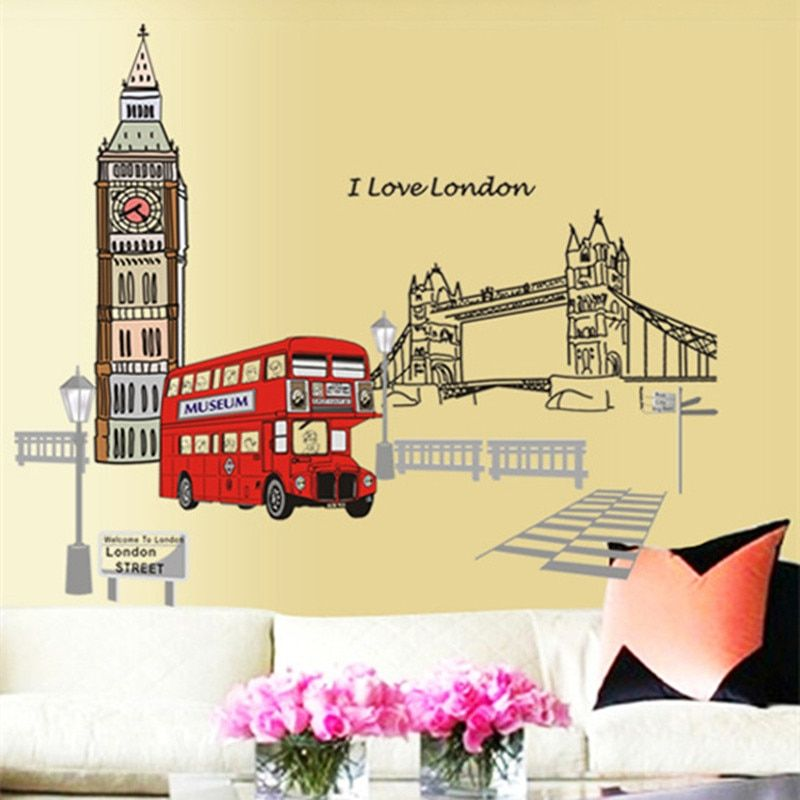 Londres double-decker Bus Stickers muraux autocollant amovible Art Mural créatif décoration de la maison grand adesivo de parede