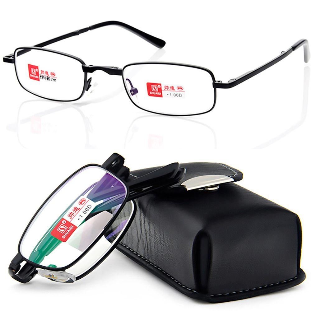 SHUAIDI PU cas NOIR CEINTURE PORTABLE pliable noble porter anti-antireflet lunettes de lecture + 1.0 + 1.5 + 2.0 + 2.5 + 3.0 + 3.5 + 4.0