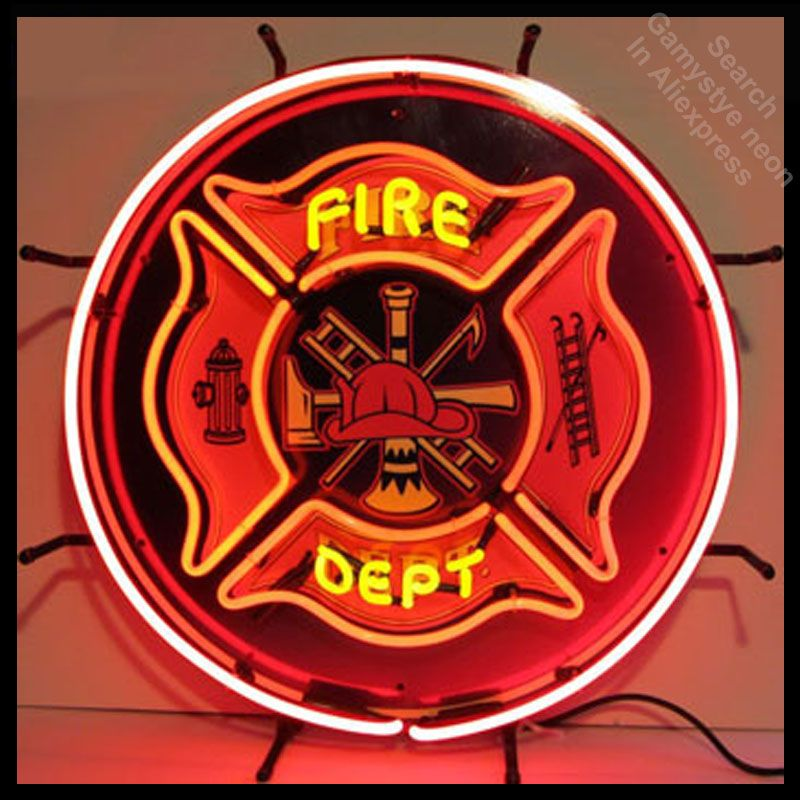 Fireman Neon Sign Firefighter Neon Sign commercial neon bulbs real glass tube beer pub sign handcrafted Dropshipping Paint Board