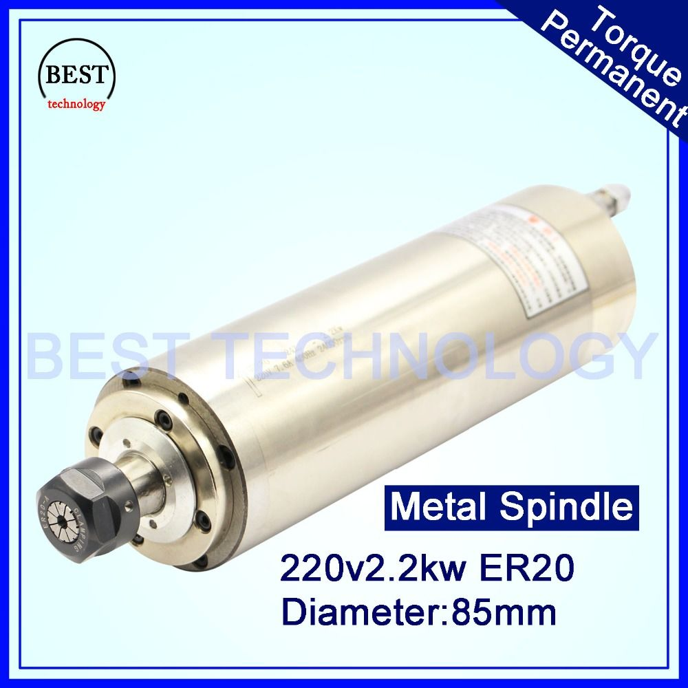 CNC Spindle Motor ER20 2.2KW 220V AC Water Cooled Spindle Motor D85mm 4pcs bearings working for wood door ,stone,soft metal !!