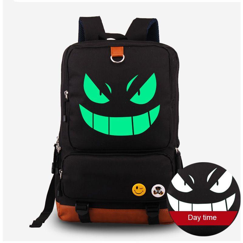 Pochette lumineuse monstre Cosplay sacs à dos Harajuku Pokemon Gengar Anime Fluorescent toile sacs d'école sac à dos Mochila Escolar
