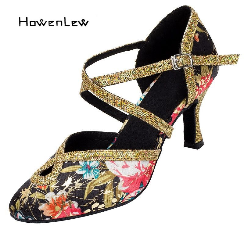 2017 Women Modern Dance Shoes Customizable Heel Salsa Tango Ballroom Dancing Shoes For Women Flower Glitter Suede Leather Sole