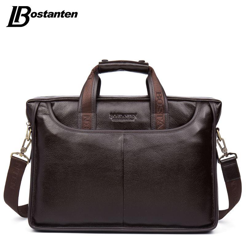 Bostanten 2017 New Fashion Echtes Leder Männer Tasche Berühmte Marke Umhängetasche Messenger Bags Handtasche Kausal Laptop Aktentasche Männlichen