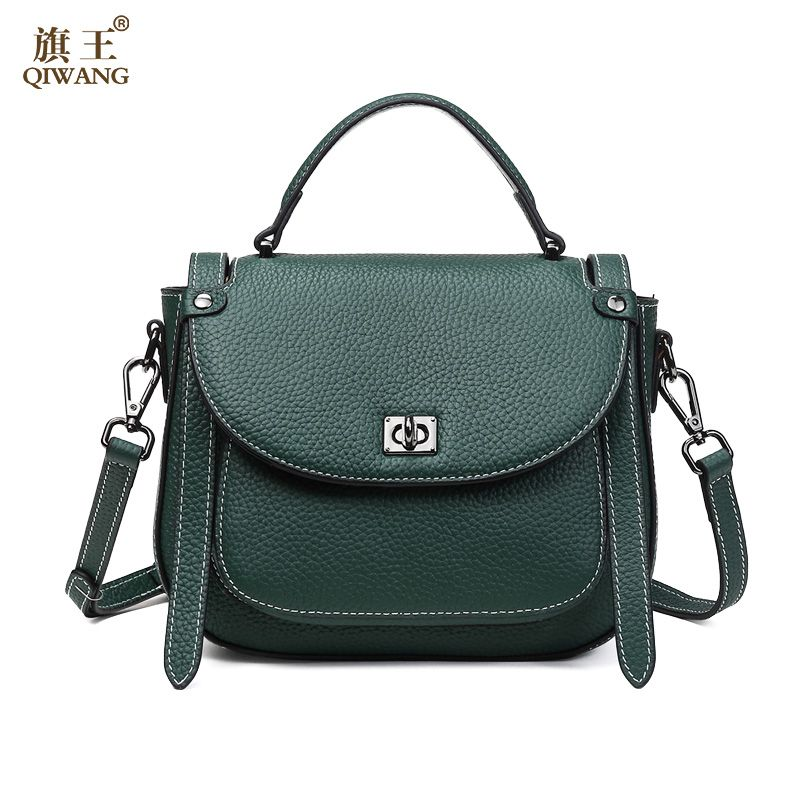 Qiwang Women Real Leather Small Square Bag New Design Female Leisure Shoulder Bags High Quality Lady Tote Handbag Sac