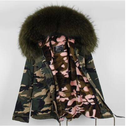 Women 2017 Winter Large Fur Collar Army Camouflage Coat Alfred Female Warm Jackets Coats Plus Size Christmas