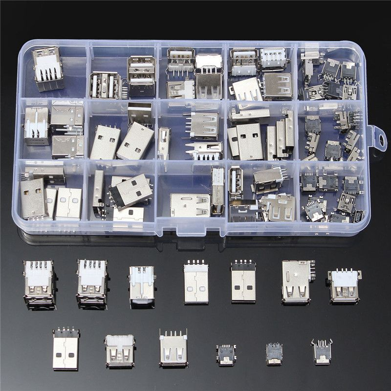 82Pcs 14 Styles USB Male USB Female Mini USB SMD Vertical Socket Connector for DIY Jack Connector Port Charging Data Plug