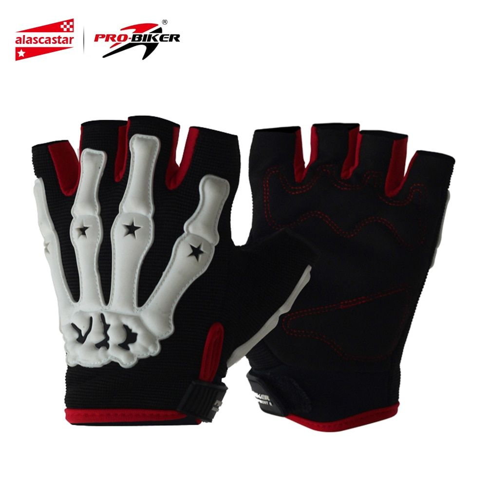 PRO-BIKER Motorcycle Riding Gloves Skull Style Motocross Off-Road Racing Gloves Bicycle Bike Cycling Half Finger Gloves Guantes