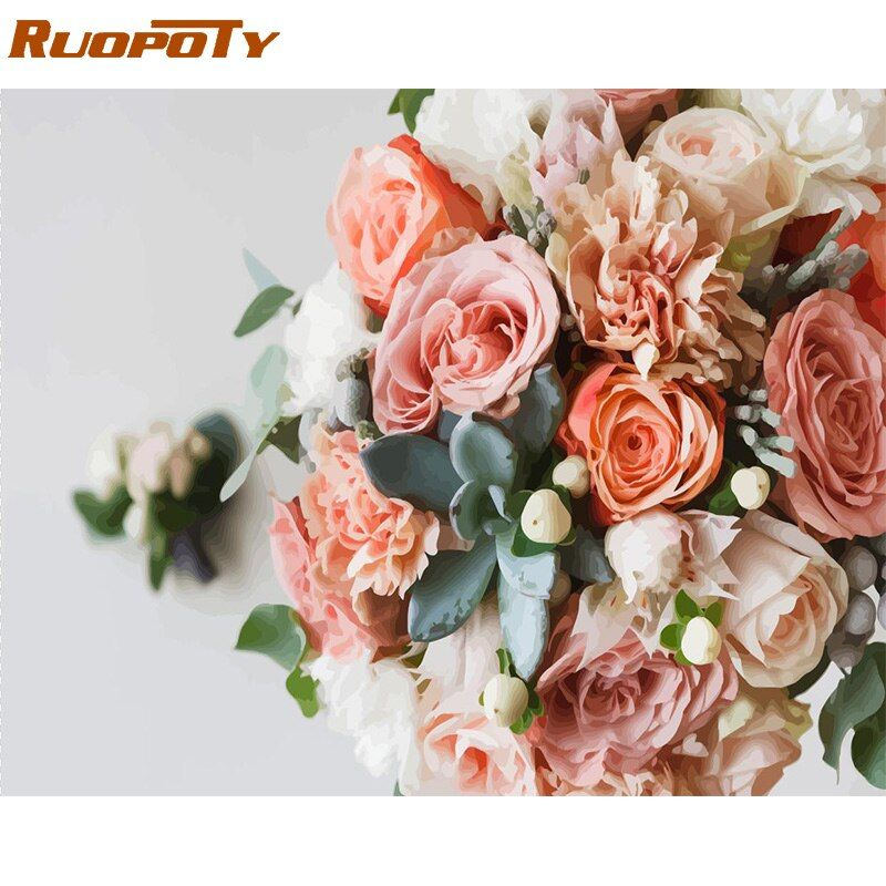 Cadre RUOPOTY Rose peinture à la main par numéros fleur acrylique coloriage par numéro Kit moderne maison mur Art photo décoration de mariage