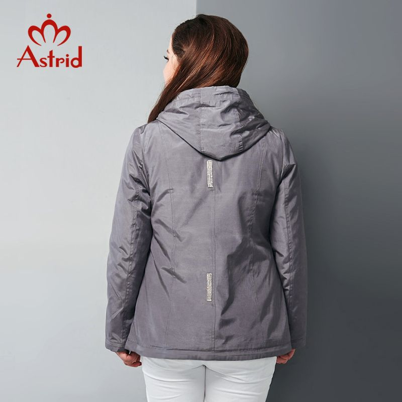 2018 Astrid Women Trench Coat Women Hooded Jacket Casual Spring and  Autumn Pre-installed zipper chain diamond jacket AY-9022