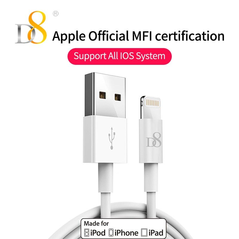 D8 [Mfi Certified] White USB Cable 1m Charger Cord for iPhone X 8 7 6 6s Plus 5 5s 5C SE iPad iPod iPad 4 mini Air iOS 8 9 10
