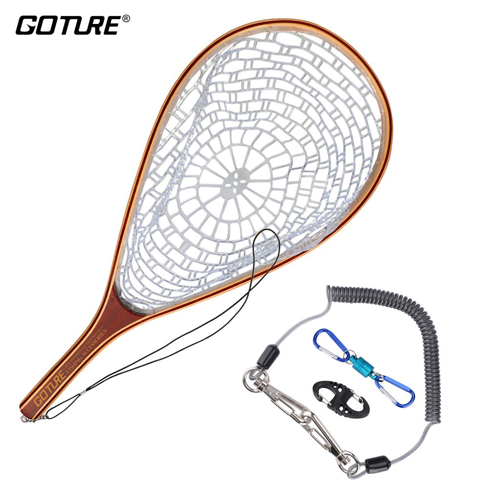 Goture Fly Fischernetz Kescher Set Monofilament Nylon Fishing Network mit Angeln Lanyard Seil Magnetschnalle