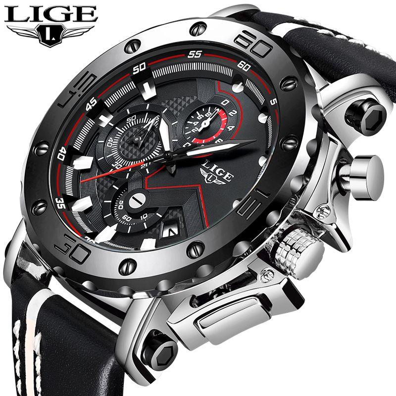 LIGE Neue Sport Herren Uhren Top Brand Luxus Große Zifferblatt Military Armee Quarzuhr Mode Lässig Wasserdicht Business Watch Männer