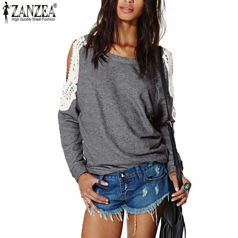 Zanzea Blusas 2016 Otoño Ocasional de Las Mujeres Sexy de Encaje de Ganchillo Empalme Del Hombro de Manga Larga Tops Sudaderas Con Capucha Tallas grandes