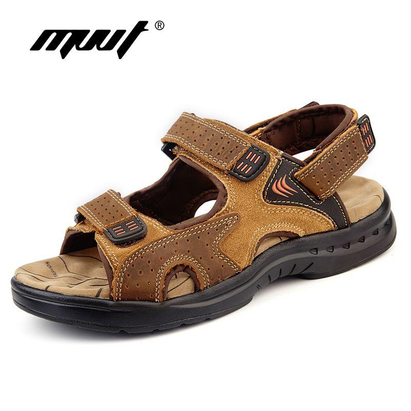 Véritable cuir hommes sandales en daim cuir sandalias hombre peau de vache homme chaussures d'été pantoufles en plein air sandales décontractées hommes