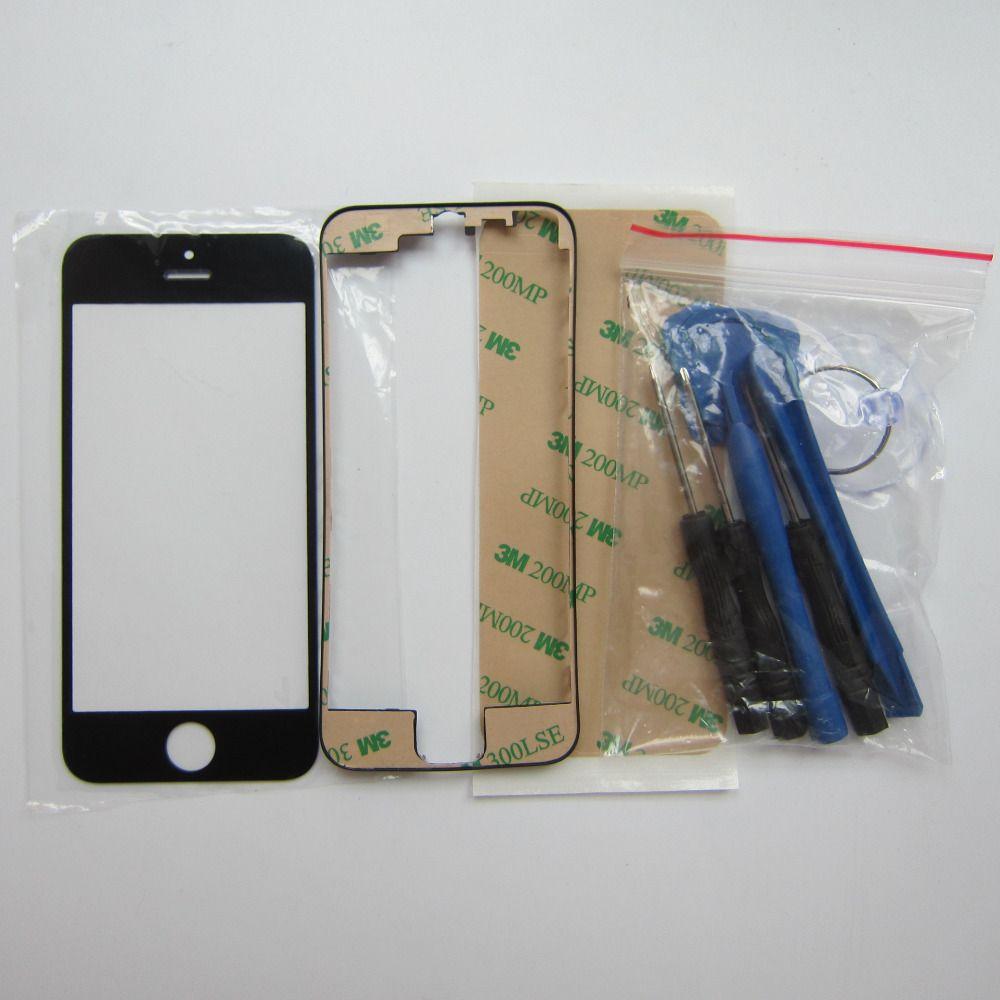 Genuine Front outer glaslinse & Mittleren frame lünette Für iPhone 5 S 5 4 S 4 LCD touchscren ersatzteile mit werkzeuge und aufkleber