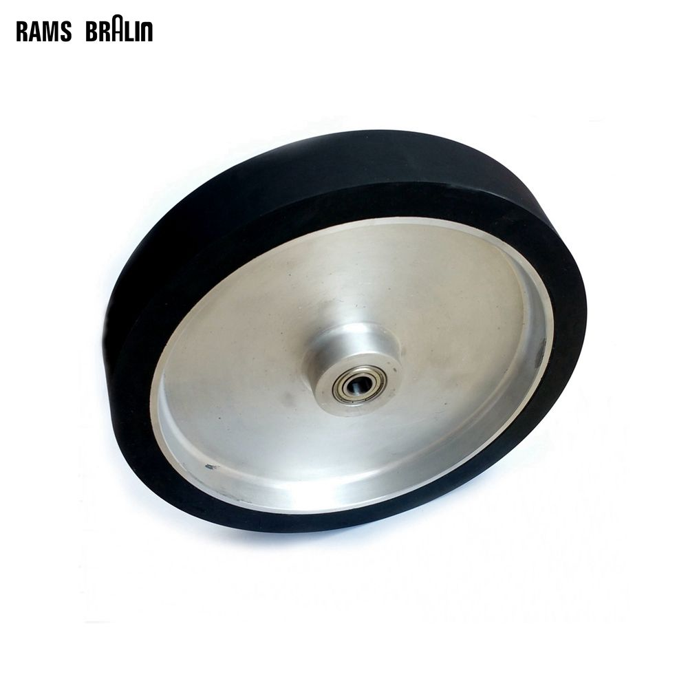 300*50mm Flat Belt Grinder Contact Wheel  Dynamically Balanced Rubber Polishing Wheel Abrasive Sanding Belt Set