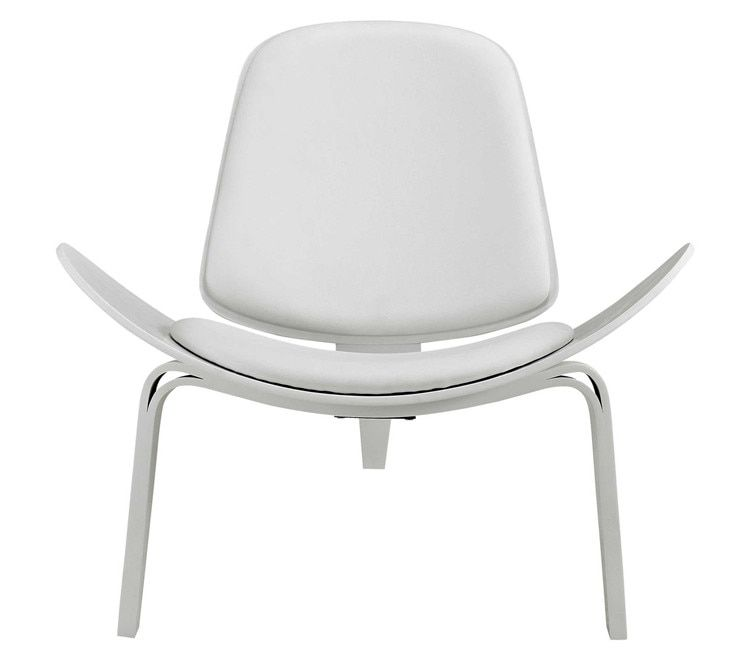 Hans Wegner Style Three-Legged Shell Chair Ash Plywood White Faux Leather Living Room Furniture Modern Lounge Shell Chair