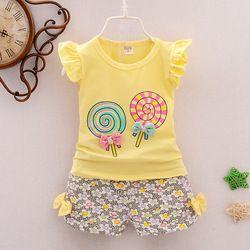 BibiCola  toddler baby girls summer clothing sets candy pattern girls summer clothes set kids fashion sport suit set