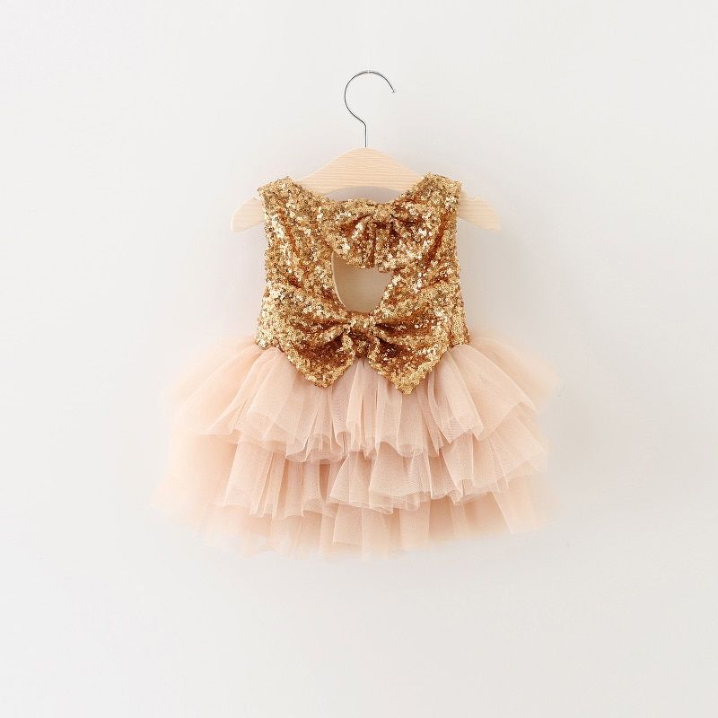 Newborn Baby Girls Clothes Gold Dress For Baptism Christening Gown 1st 2nd Birthday Outfits Infant Party Wear Tutu Kids Vestidos