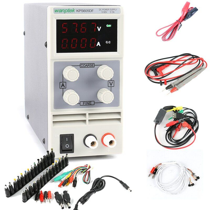 KPS-605DF Four display laboratory power supply Mini Switching Regulated Adjustable DC Power Supply 60V 5A 0.01V 0.001A