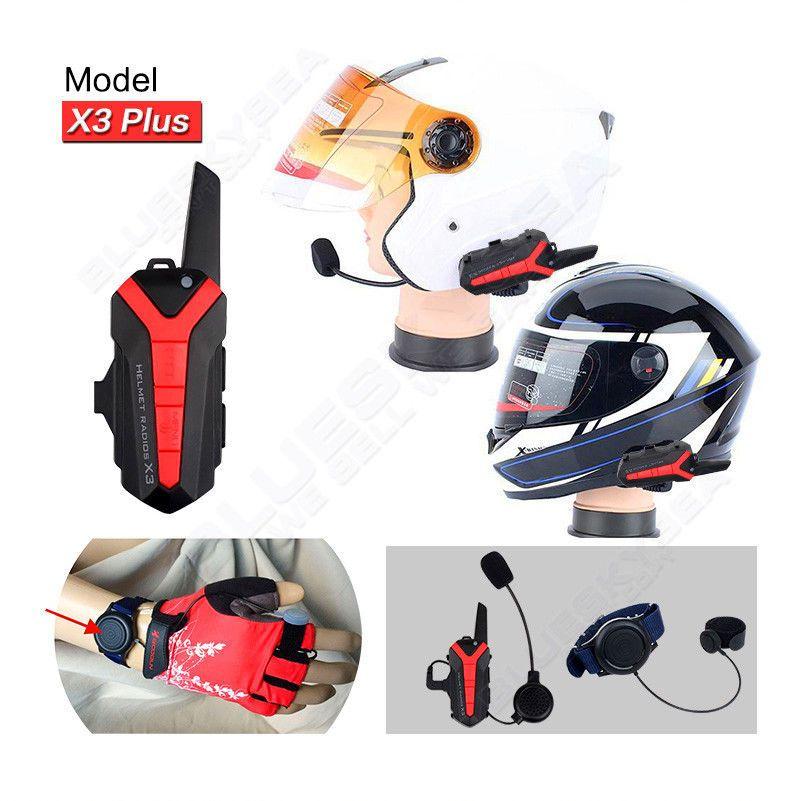 X3 Plus Bluetooth walkie talkie BT Motorcycle motorbike Helmet 1.5-3KM Intercom interphone Headset IP54 waterproof 2 way radio