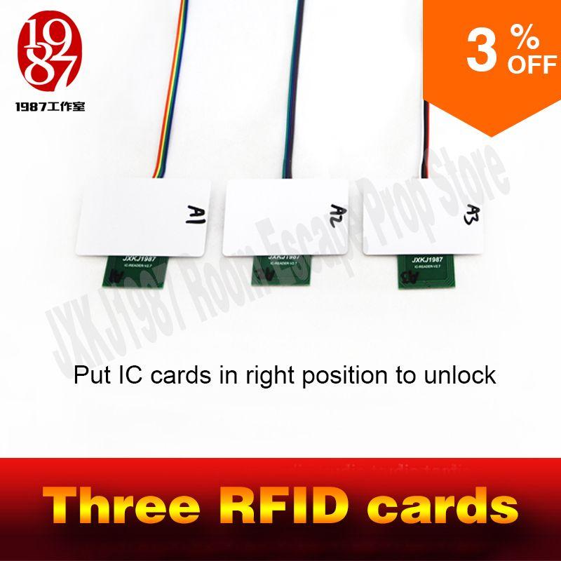 Accessoires RFID évasion jeu d'aventurier accessoires rfid prop mettre quatre cartes ic dans une relation à déverrouiller avec audio JXKJ1987