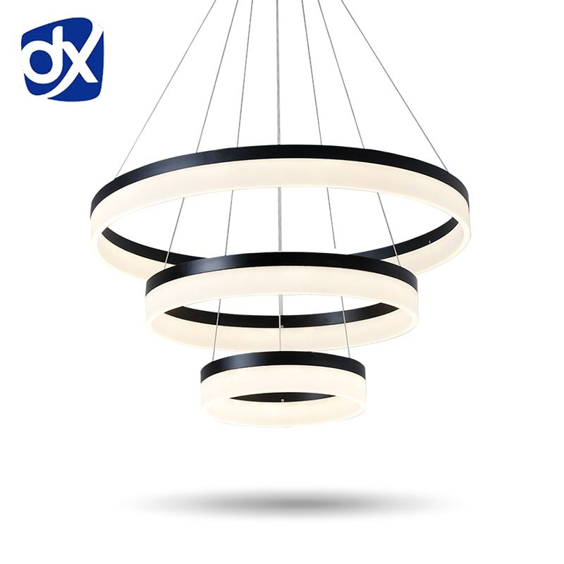 Modern Creative Pendant Light Living Room Dining Room 3/2 Circle Rings Acrylic Aluminum Body LED Lighting Ceiling Lamp Fixtures
