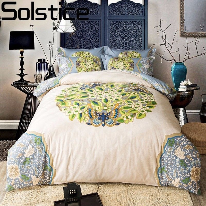 Solstice 2017 Luxury Classical Leaves Paisley Style 4pcs Bedding Set Bedclothes Duvet Cover Bed Sheet Pillowcase Queen King Size