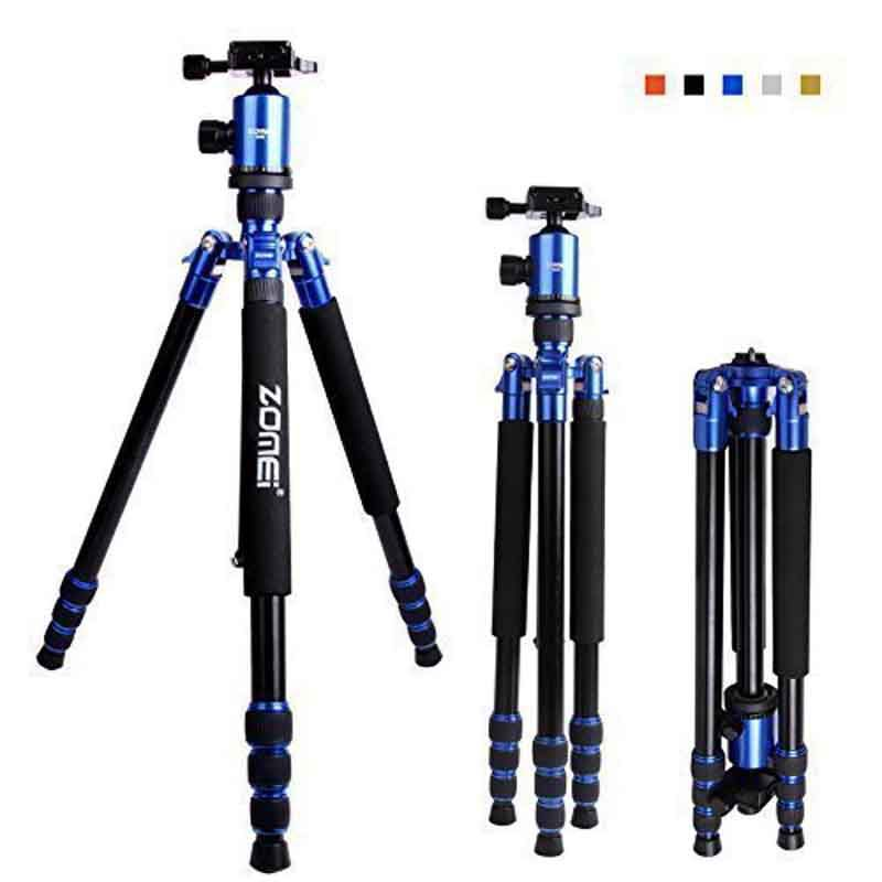DHL livraison gratuite Zomei Z888 DSLR caméra trépied monopode & rotule plaque de dégagement rapide axe central réversible avec étui