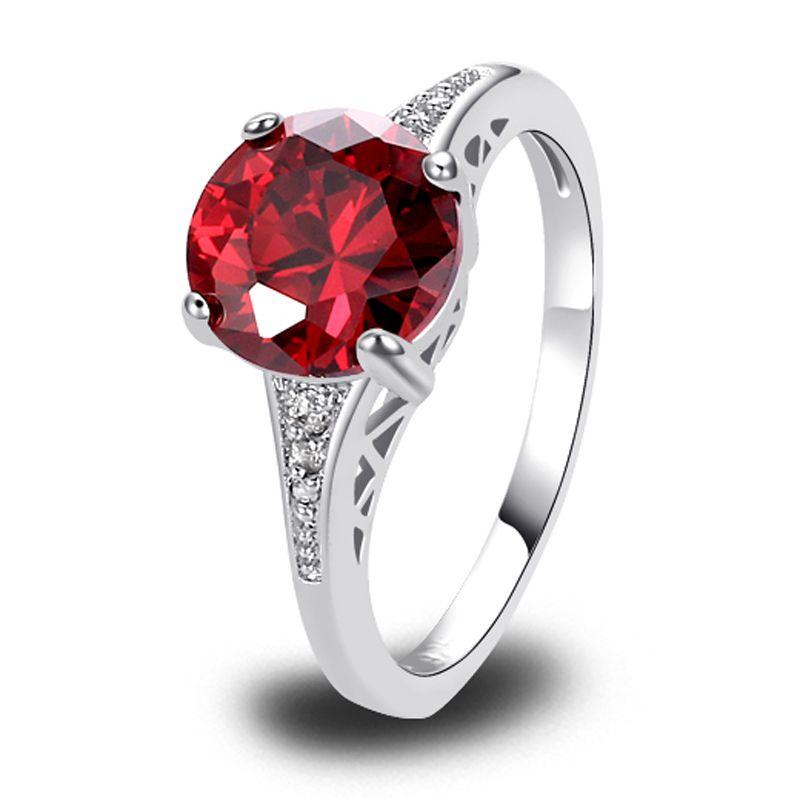 Lingmei Rote Granat Silber Ring Größe 6 7 8 9 10 11 12 13 Gems zogenes Schmuck Großhandel Kostenloser Versand handgemachte