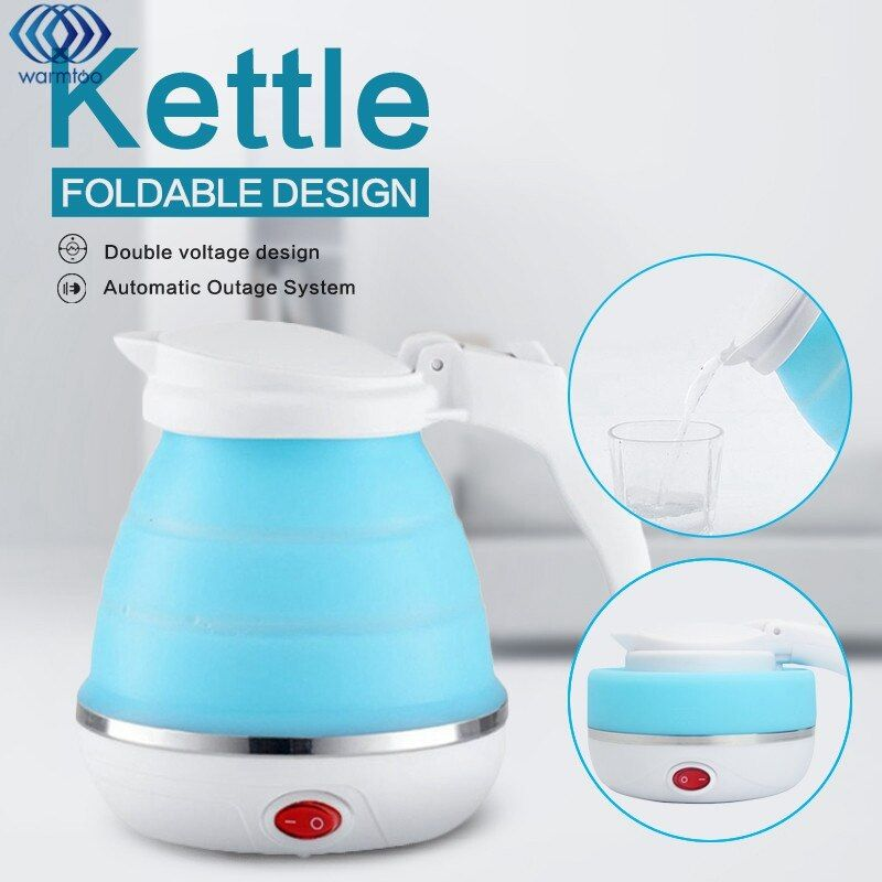 0.5L Electric Kettle Silicone Foldable 680W Portable Travel Camping Water Boiler Adjustable Voltage Home Electric Appliances