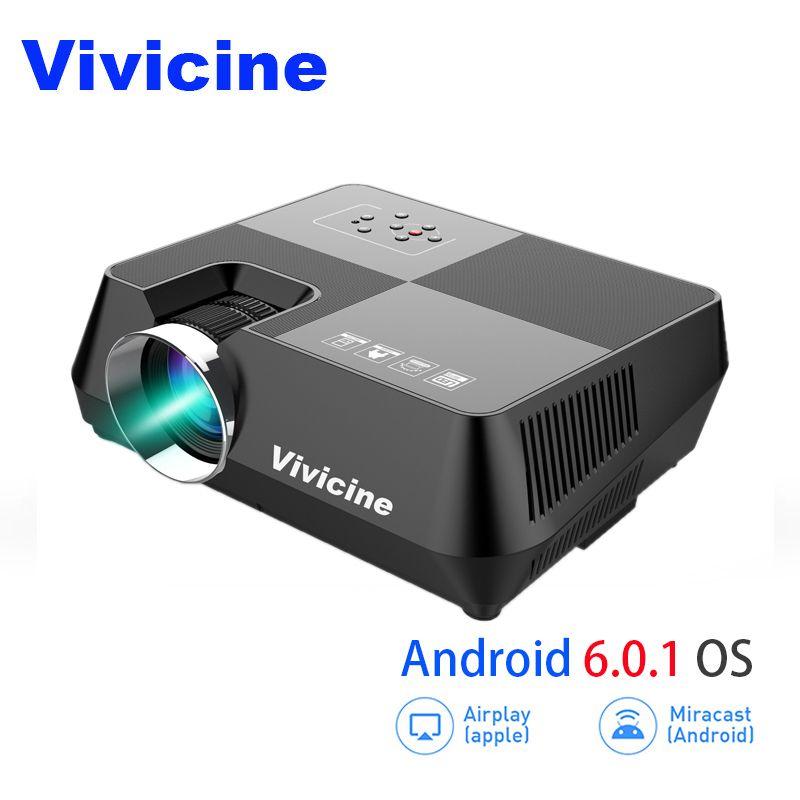 VIVICINE HD LED Projektor, Tragbare 720 p HD Heimkino Proyector, Optional Android 6.0 Bluetooth WIFI Miracast Airplay Beamer
