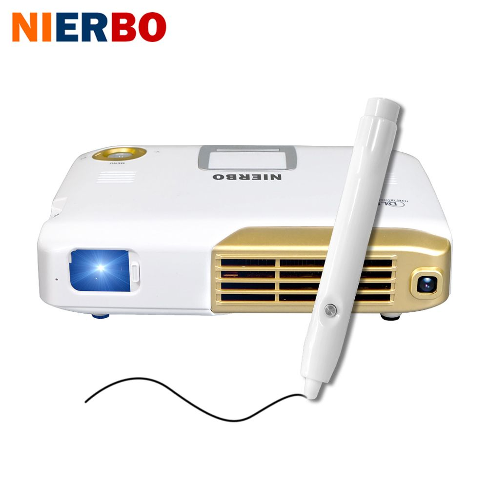 NIERBO 4K Interactive Portable Projector Full 3D School Android Wifi Office Education with 15000mah Battery 500 ANSI Lumens