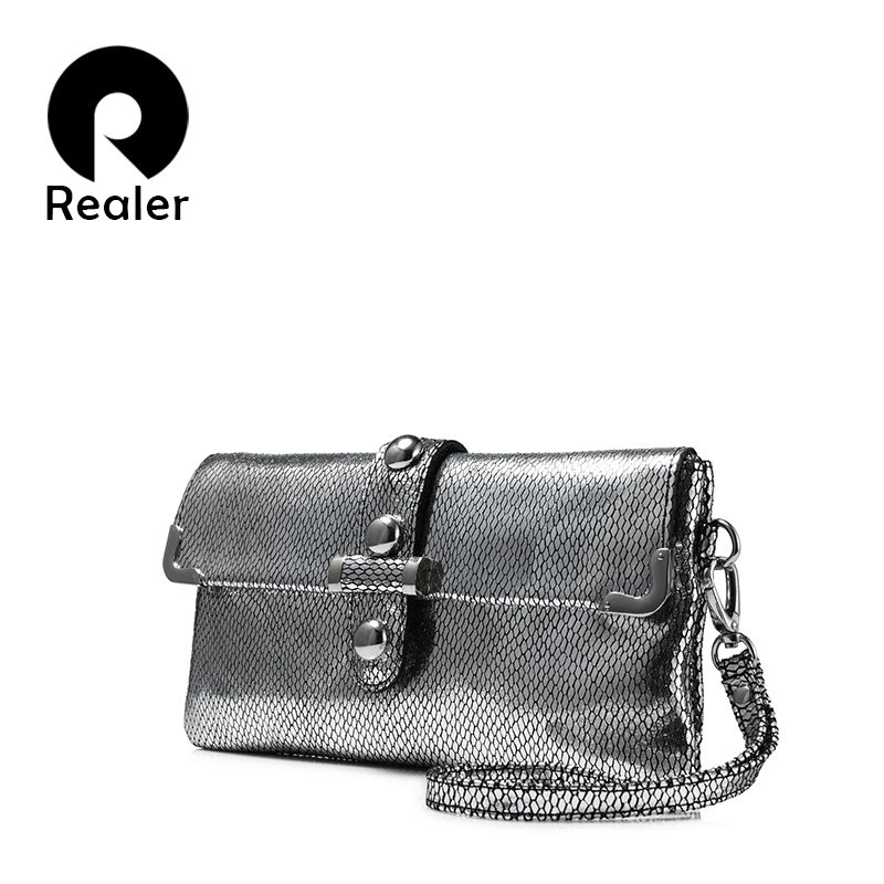 REALER women handbag genuine leather clutch high quality shoulder messenger female crossbody bags serpentine print purse small