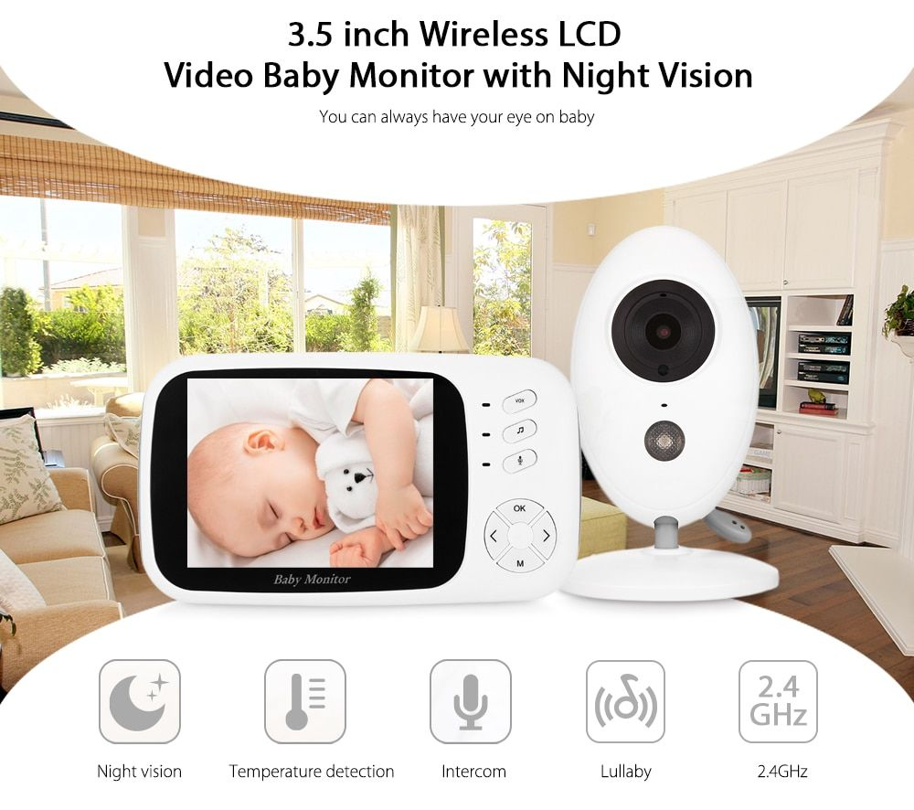 FIMEI XF808 3.5inch Wireless Video Baby Monitor Camera Night vision Baby Sleep Nanny Security video camera monitor LCD Monitor