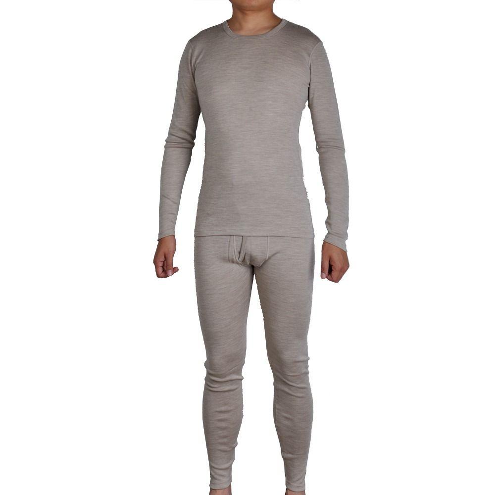 Männer Reine 300g/m2 100% Merino Wolle Winter Langen Ärmeln Thermische Warme Dicken Pullover Unterwäsche Dicker Tops Unterhosen bottom Set