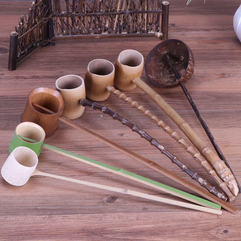 L'eau Écope Cuillère À long manche Bambou Carbonisé Bambou Racine Thé Accessoires Louche cuillère D'eau Louche Pour Thé Kung Fu thé Outils