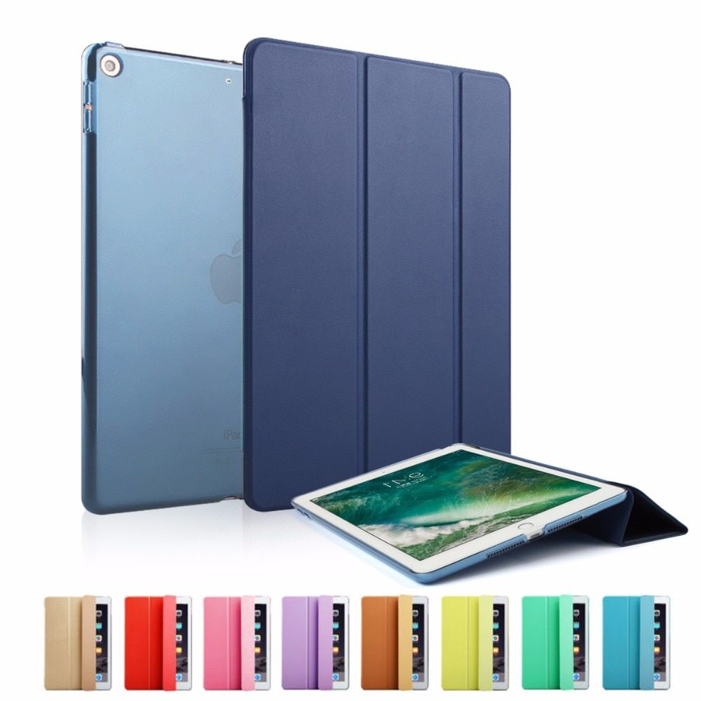 Étui intelligent pour nouvel iPad 9.7 pouces 2017/2018 modèle Ultra mince en cuir PU couverture Flip Auto réveil sommeil magnétique marine manchon
