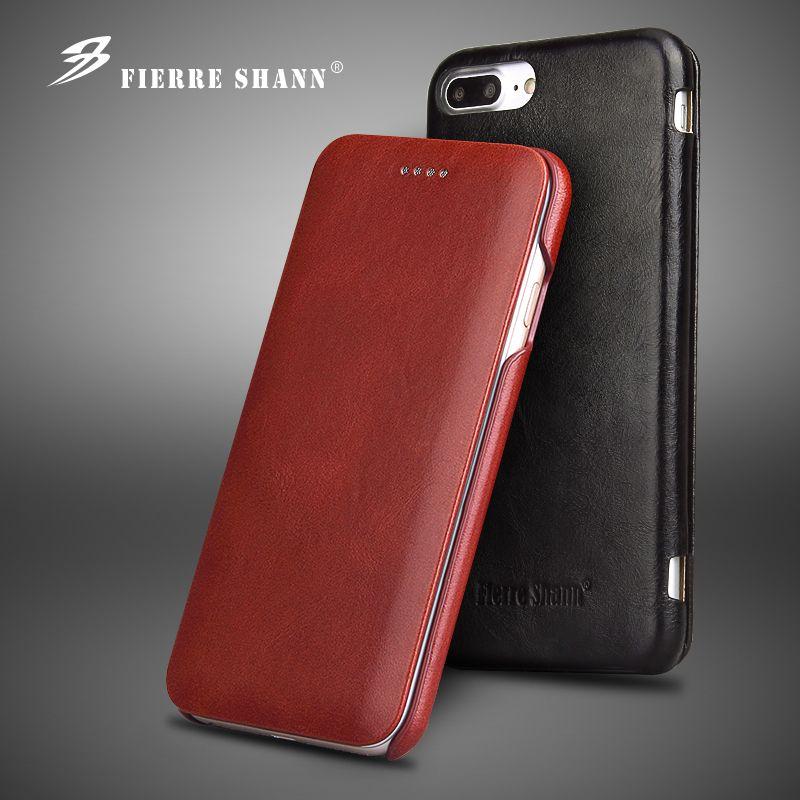 Fierre Shann Lujo Del Cuero Genuino para Smasung Galaxy S8 Plus Flip caso para el iphone X Coque para el iphone 6 6 S 7 8 Plus caso