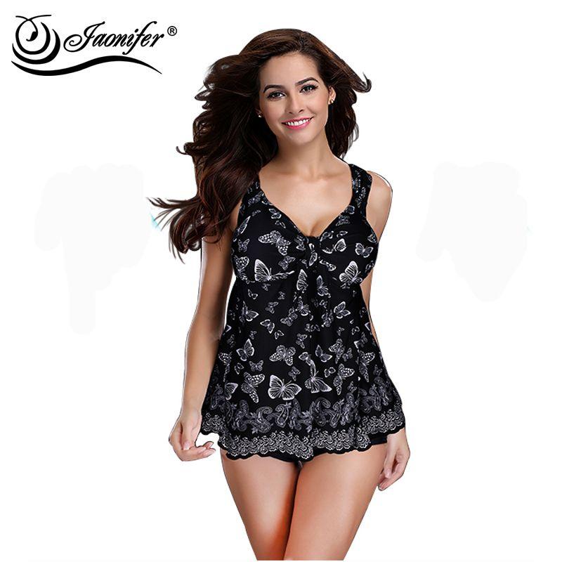 JAONIFER Plus Size Swimwear Swimsuit Women Push Up Swimsuit Butterfly Printed Swimwear Beachwear Backless Bathing Suits