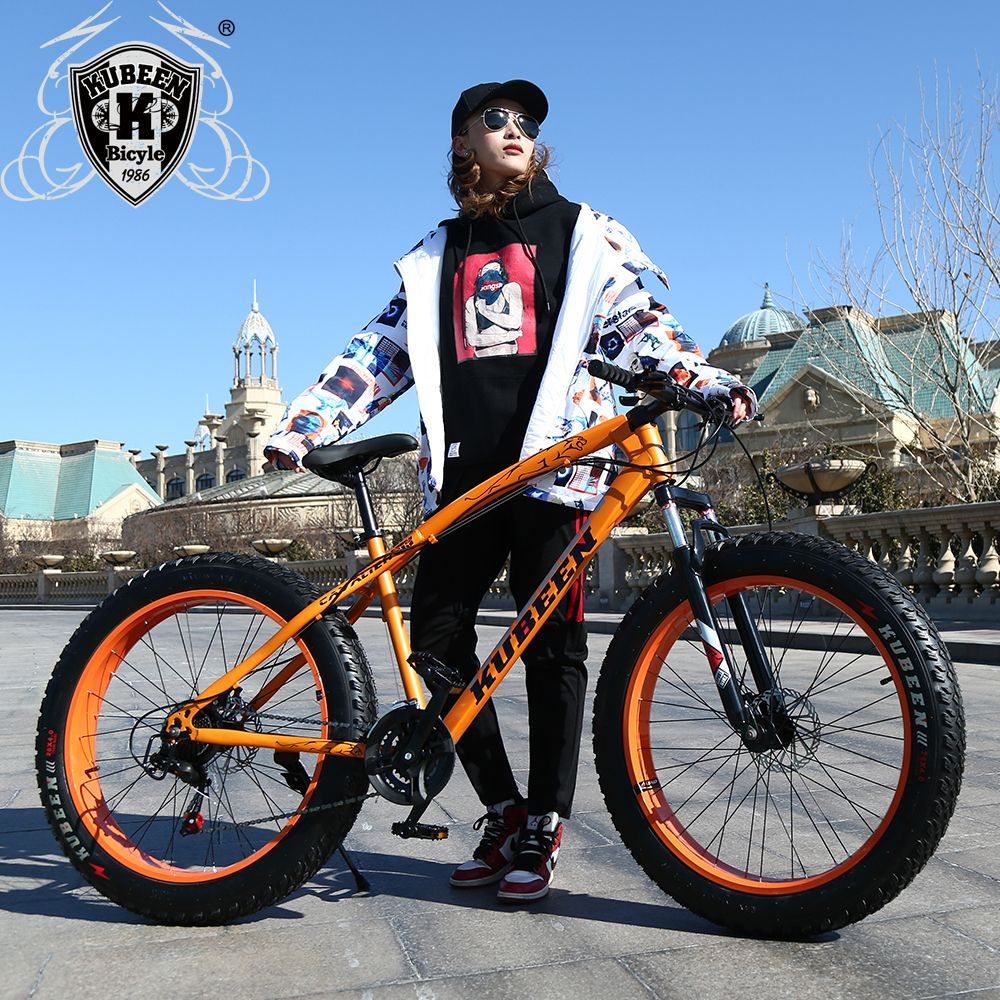 KUBEEN new arrival 7/21/24/27 speeds Disc brakes Fat bike 26 inch <font><b>26x4.0</b></font> Fat Tire Snow Bicycle Oil spring fork