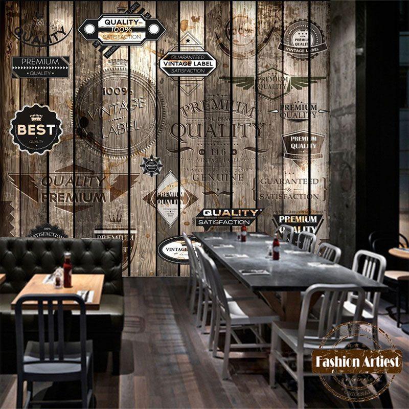 Personnalisé moderne 3d papier peint mural vintage marque sur bois mur tv canapé chambre salon café bar restaurant fond