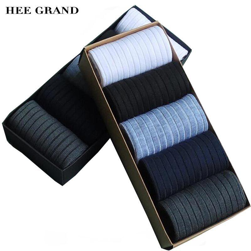 Hee grand 2017 nueva llegada hombres de la manera material de fibra de bambú de algodón calcetín respirable cómodo calcetines 5 pares por juego nwm305